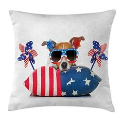 Lunarable 4th of July Throw Pillow Cushion Cover, Jack Russe