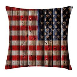 Ambesonne 4th of July Throw Pillow Cushion Cover, Rustic Bac