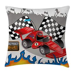 Ambesonne Kids Decor Throw Pillow Cushion Cover, Race Car wi