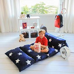Kids Floor Pillow Fold Out Lounger Fabric Cover for Bed and