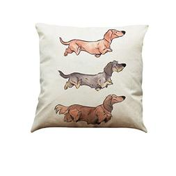 Kimloog Cute Dog Cotton Linen Pillow Cases Hidden Zip Sofa H