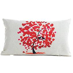 KMG Kimloog Cute Love Heart Pattern Tree Watercolor Linen De