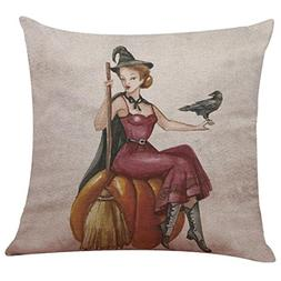 Kimloog Halloween Linen Square Throw Pillow Case Bat Pumpkin