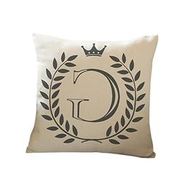 Kimloog 18 x 18 Linen Throw Pillow Case Leaf Letters Pattern