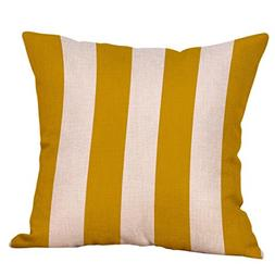 Kimloog Mustard Yellow Geometric Throw Pillow Case Cotton Li