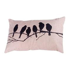 KMG Kimloog Throw Pillow Cover Cute Bird Tree Branches Silho