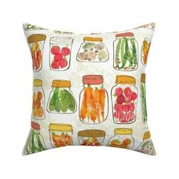 Kitchen Vinatge Style Canning Throw Pillow Cover w Optional