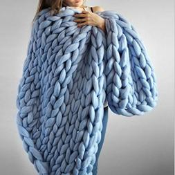Knit Blanket Throw Blue - Baby Breathable  Soft for Couch Gi