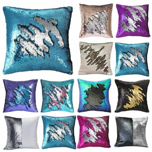 16 mermaid pillow case reversible sequin glitter
