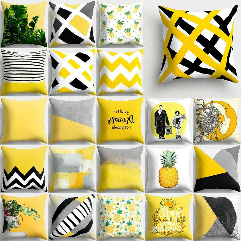 18 artifical yellow pillows case throw cushions