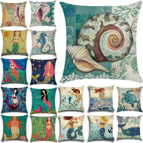 "18"" Ocean Beach Sea Cotton Linen Pillow Case Sofa Throw Cush"