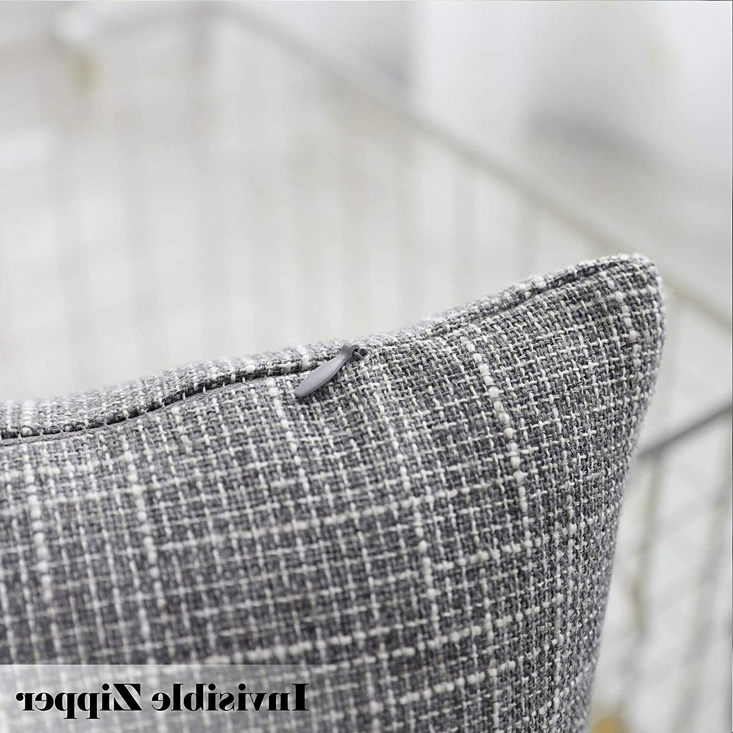 2 grey faux linen throw pillow covers
