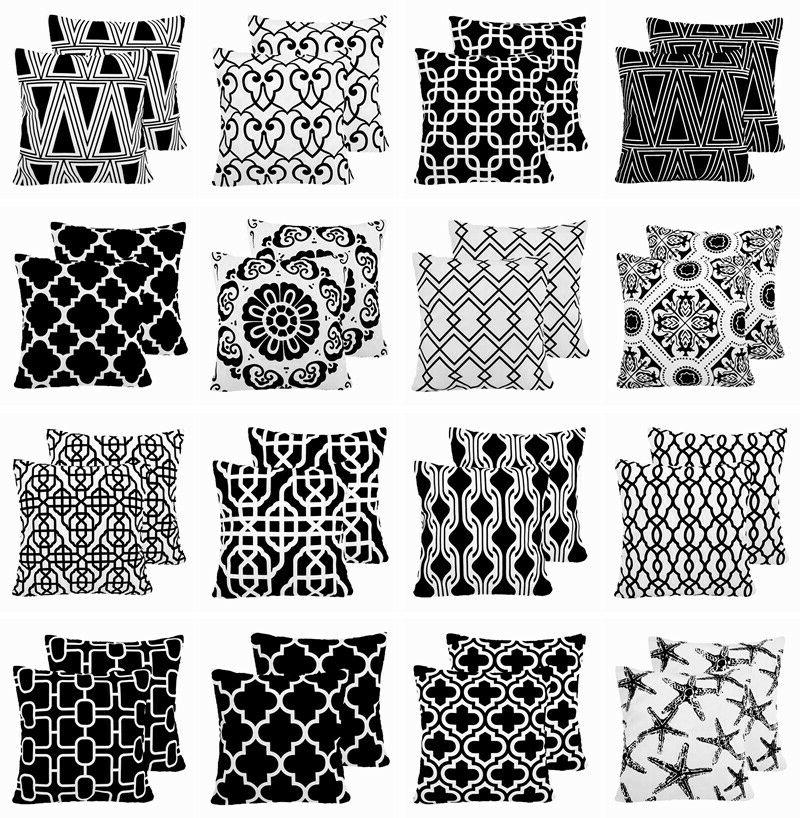 2 pack black and white throw pillow
