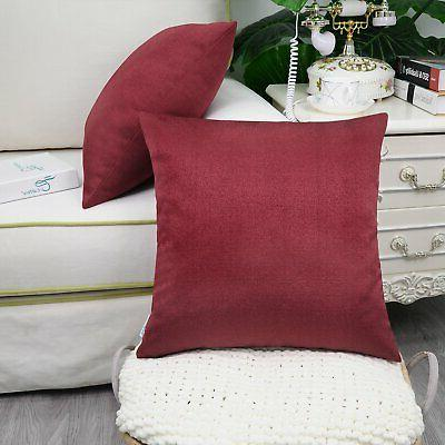 """CaliTime Throw for Couch Sofa 18 X 18"""" Red"""
