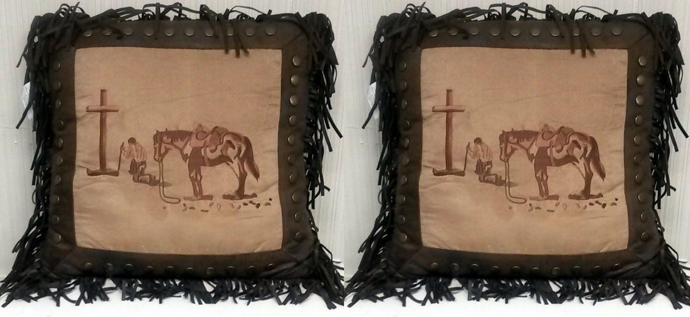 2 Western Throw Pillows Praying Cowboy Cross Rustic Bedding