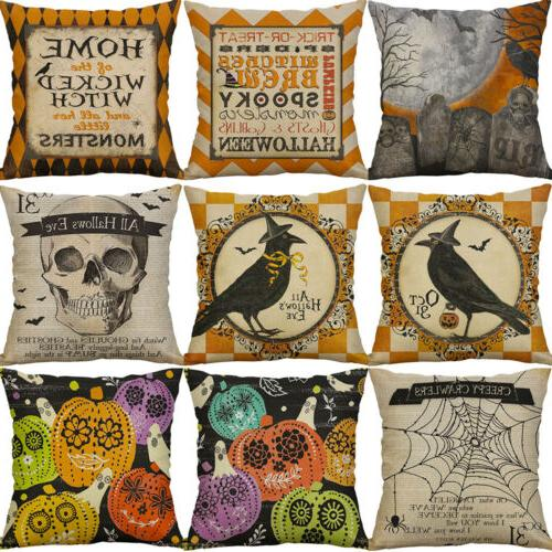 2019 Halloween Fall Decor Pillow Case Sofa Cover US
