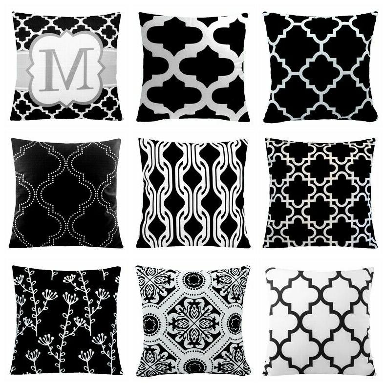 24x24 black and white accent decorative throw