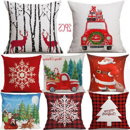 2pc Christmas Covers Cases Pillowcase Couch