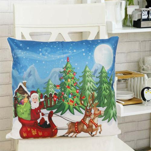 2PCS 18 Christmas Pillow Covers Couch Cases Cotton Santa Claus