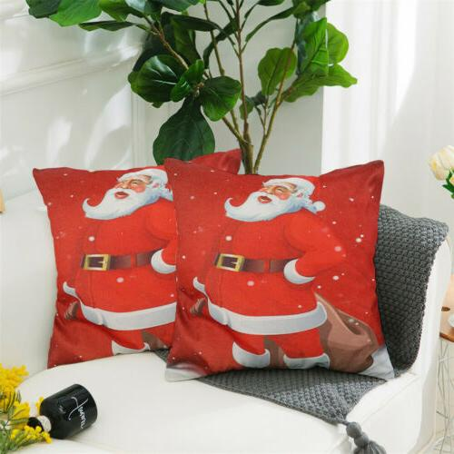 "2PCS 18 x 18"" Christmas Throw Couch Cases Linen Santa"