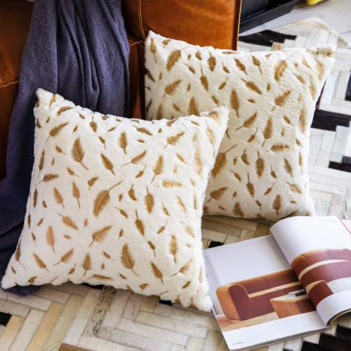 2Pcs Fluffy Soft Throw Sofa Couch Bed Cushion Covers