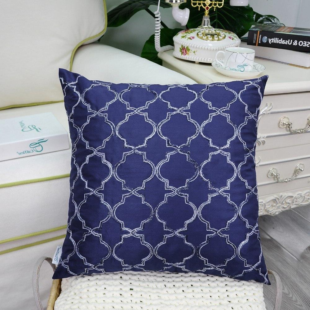 "2PCS <font><b>CaliTime</b></font> <font><b>Throw</b></font> <font><b>Pillow</b></font> Covers for Home Quatrefoil Accent Geometric Chain 18""X18"" <font><b>Blue</b></font>"