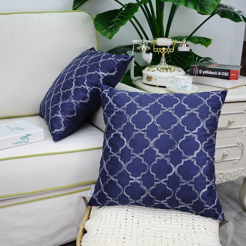 "2PCS Faux Silk <font><b>Throw</b></font> <font><b>Pillow</b></font> Covers Quatrefoil 18""X18"" <font><b>Navy</b></font> <font><b>Blue</b></font>"