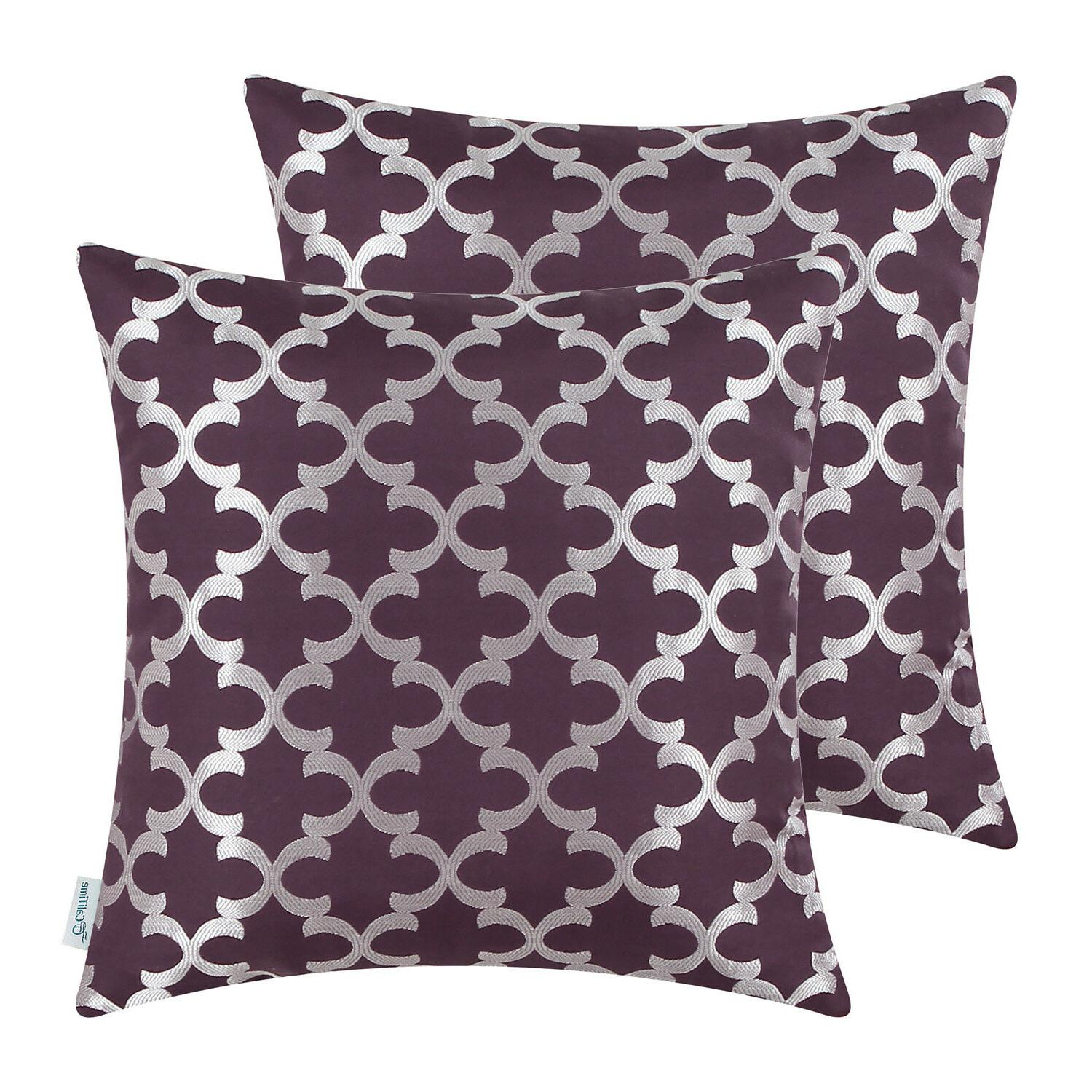 2Pcs CaliTime Cushion Covers Shells Accent Geometric 18x18""