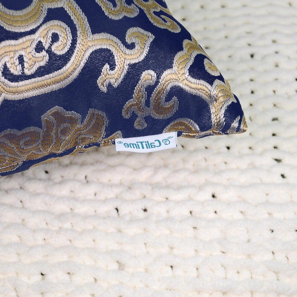 2PCS <font><b>Throw</b></font> <font><b>Pillow</b></font> for Damask Chain Navy <font><b>Blue</b></font>