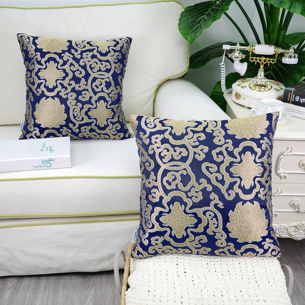 2PCS <font><b>Throw</b></font> for Couch Damask Chain X Navy