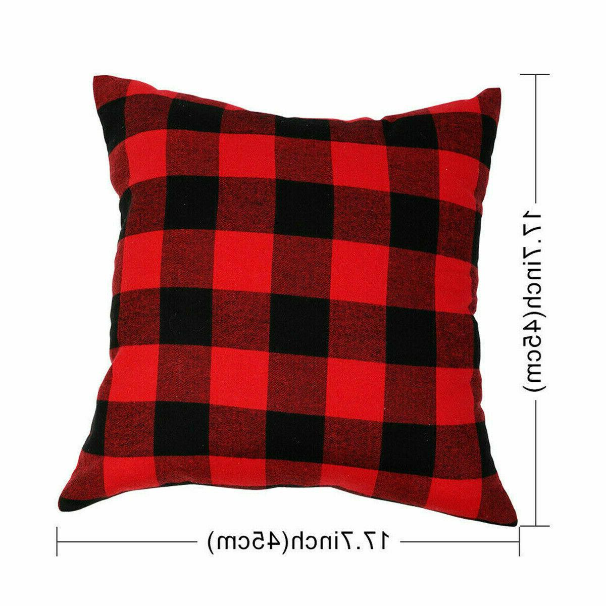 2 Pillow Covers Red Christmas Home Decor Cushion Case