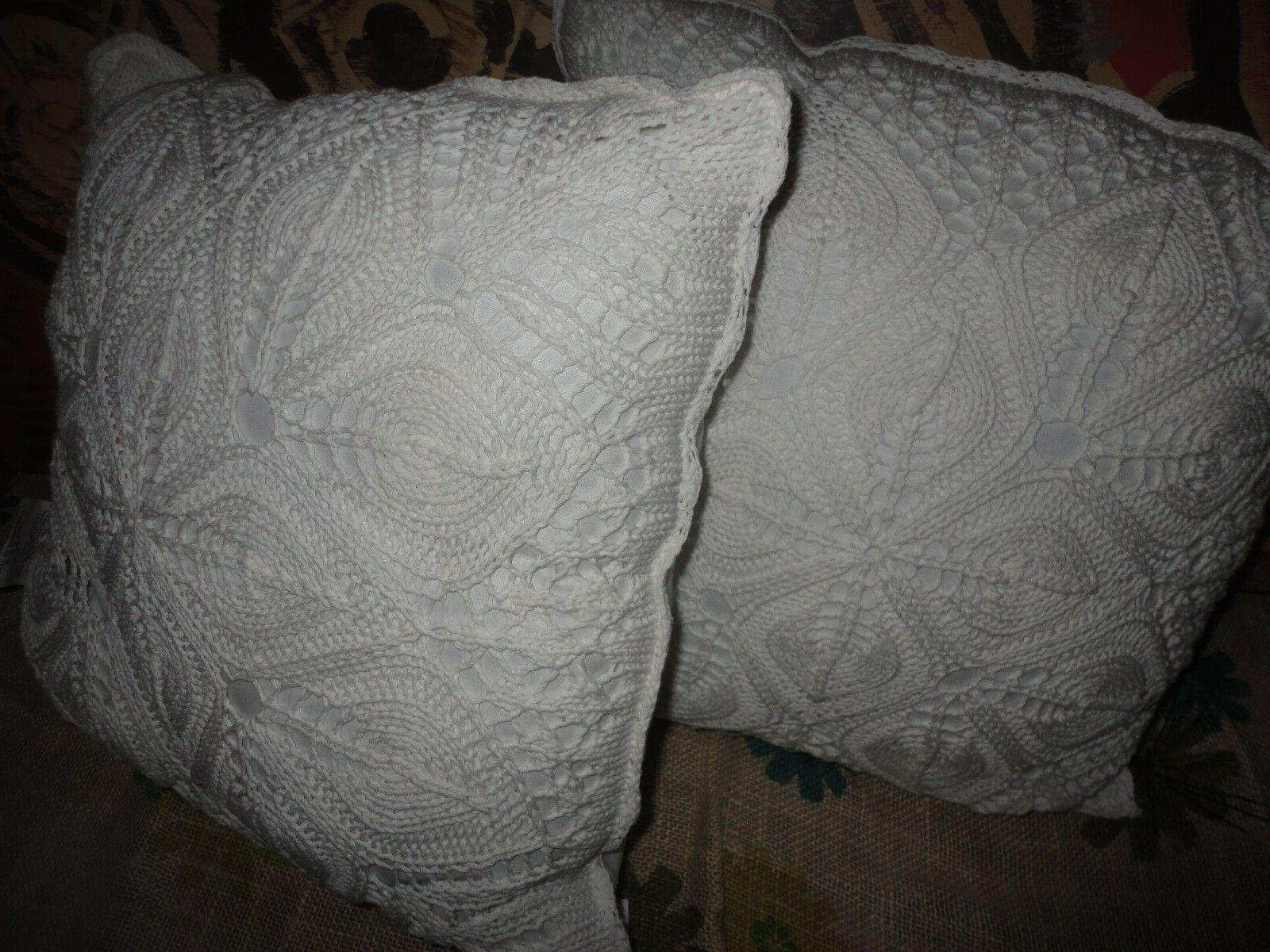 BESS SIDNEY SHABBY CHIC WHITE SQUARE  CROCHETED THROW PILLOW