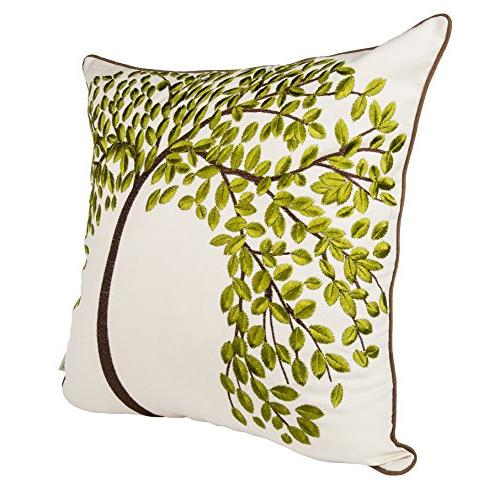 BLUETTEK Embroidered Cotton Decorative Throw Cushion Case Pillow The Tree