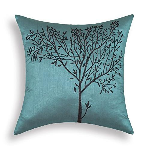 CaliTime Cushion Covers Pillows Shell Teal Ground Embroidere