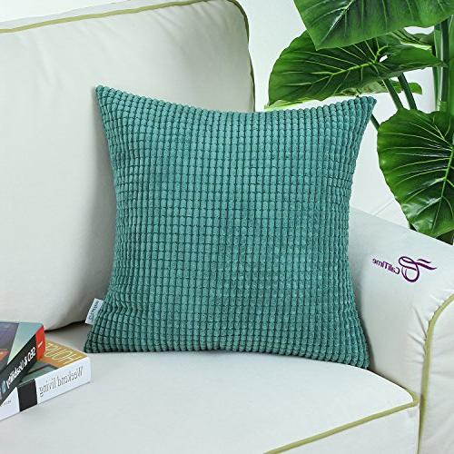 CaliTime of Comfy Throw Pillow Cases Couch Sofa Bed Corn Sides 18 18 Inches Teal