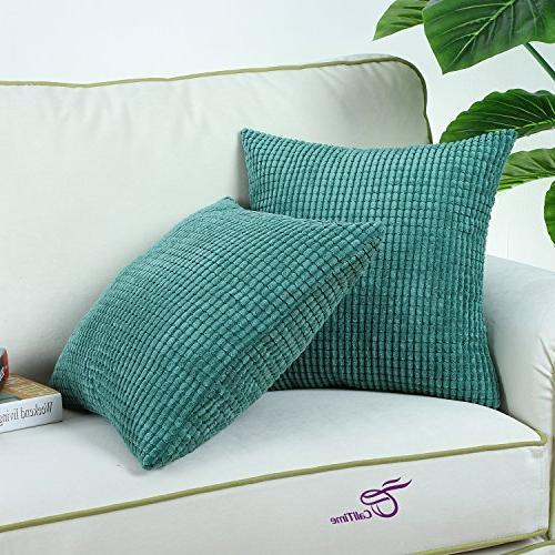CaliTime of Comfy Throw Pillow Covers Cases for Bed Corn Striped Sides 18 X Teal