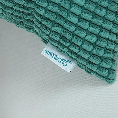 CaliTime Pack 2 Comfy Throw Pillow Cases for Couch Sofa Bed Comfortable Supersoft Corduroy Corn Striped 18 18 Inches Teal