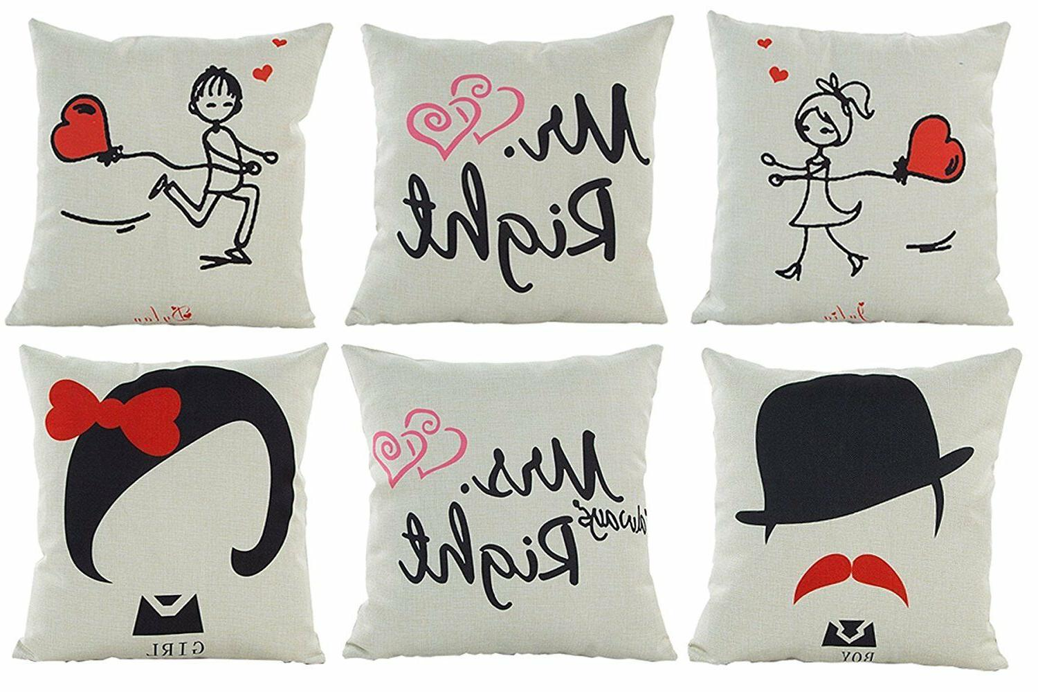 HOSL 6 Pack Cotton Linen Valentines Day Gift Sofa Home Throw
