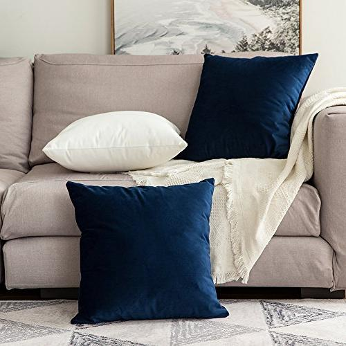 MIULEE Velvet Soft Soild Decorative Square Throw Pillow Covers Set Case Sofa Bedroom 18 x 18 45 x 45 cm