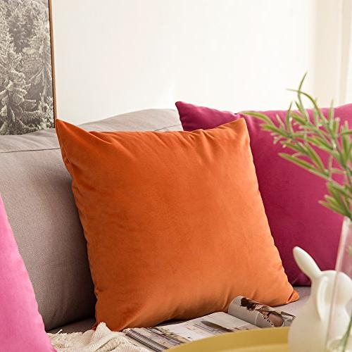 MIULEE Velvet Soft Square Pillow Covers Set x 18 Inch 45 x