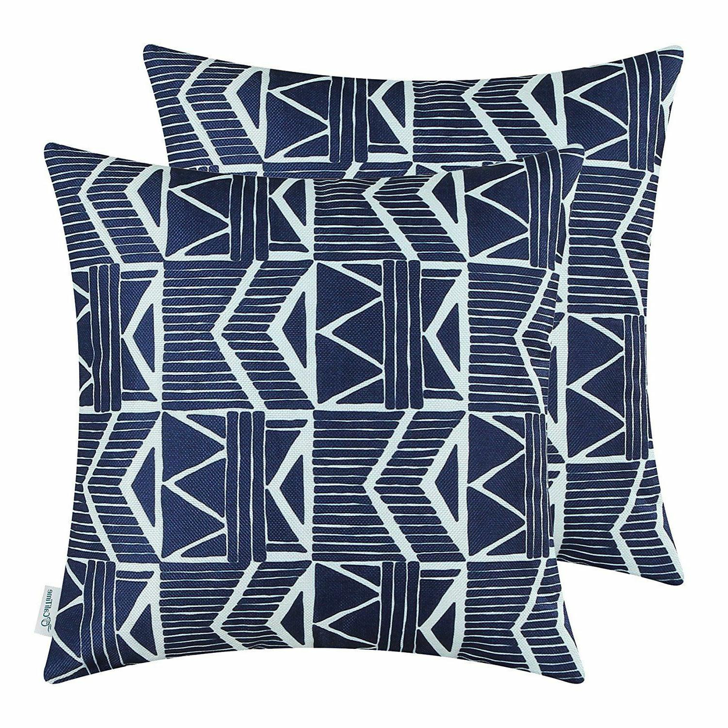 Navy Southwest Modern, CaliTime Throw Pillow Covers 18x18, P