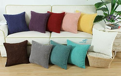 CaliTime of 2 Comfy Throw Cases Bed Corduroy Corn 18 Teal