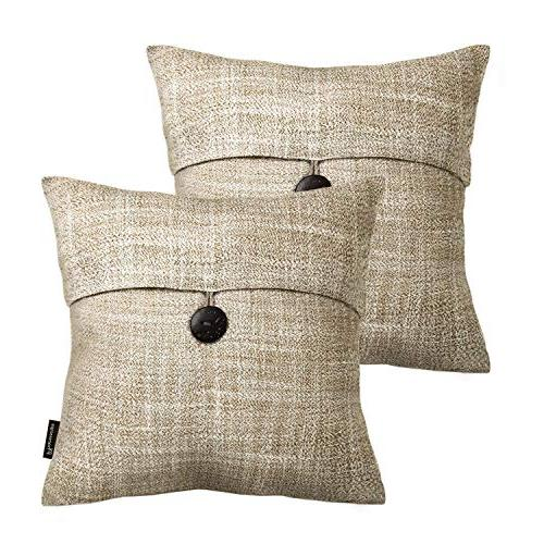 Phantoscope Set of Button Linen Decorative Throw Cover