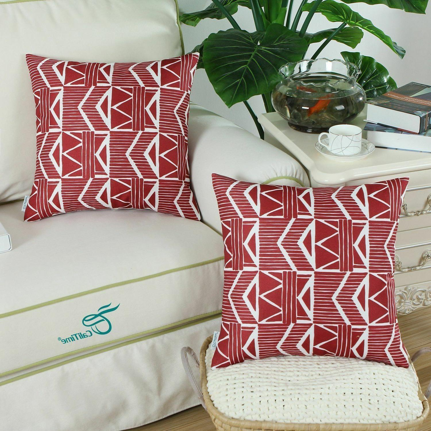 Red Modern, Throw Pillow Covers Pack 2 NEW