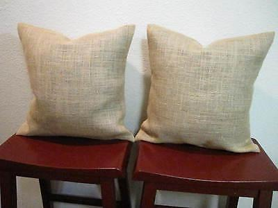 SET of 2 20x20 BURLAP THROW PILLOW CUSHION COVERS COUNTRY RU