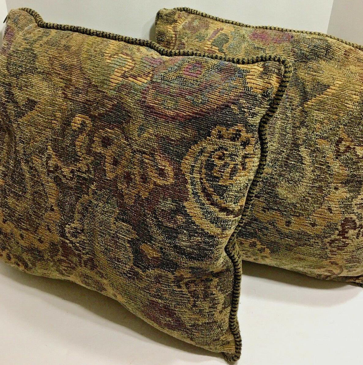 Set of 2 18x18 Tapestry Throw Pillow Paisley Print Decor Bac