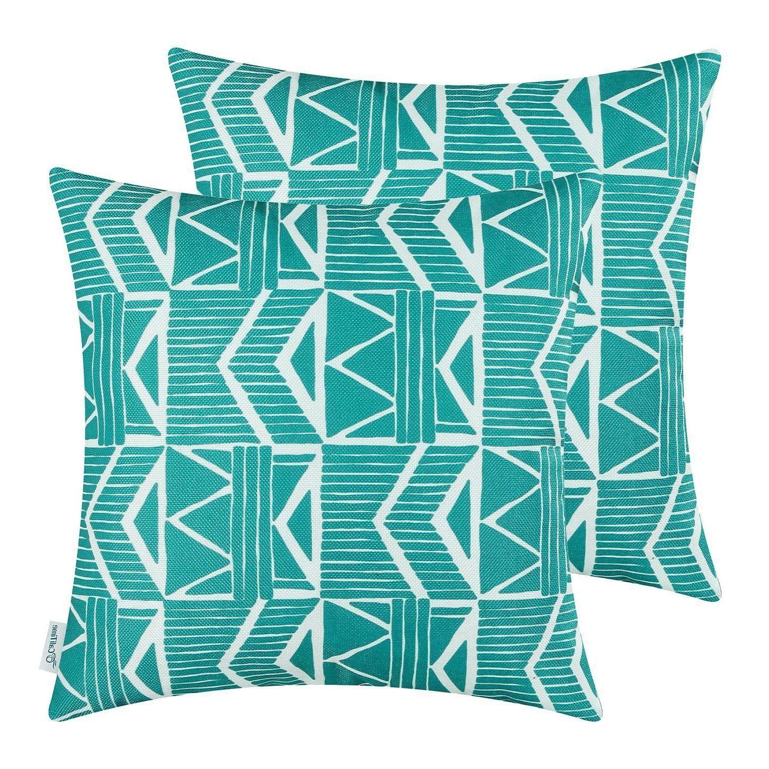 Teal Blue Southwest Modern, CaliTime Throw Pillow Covers 18x