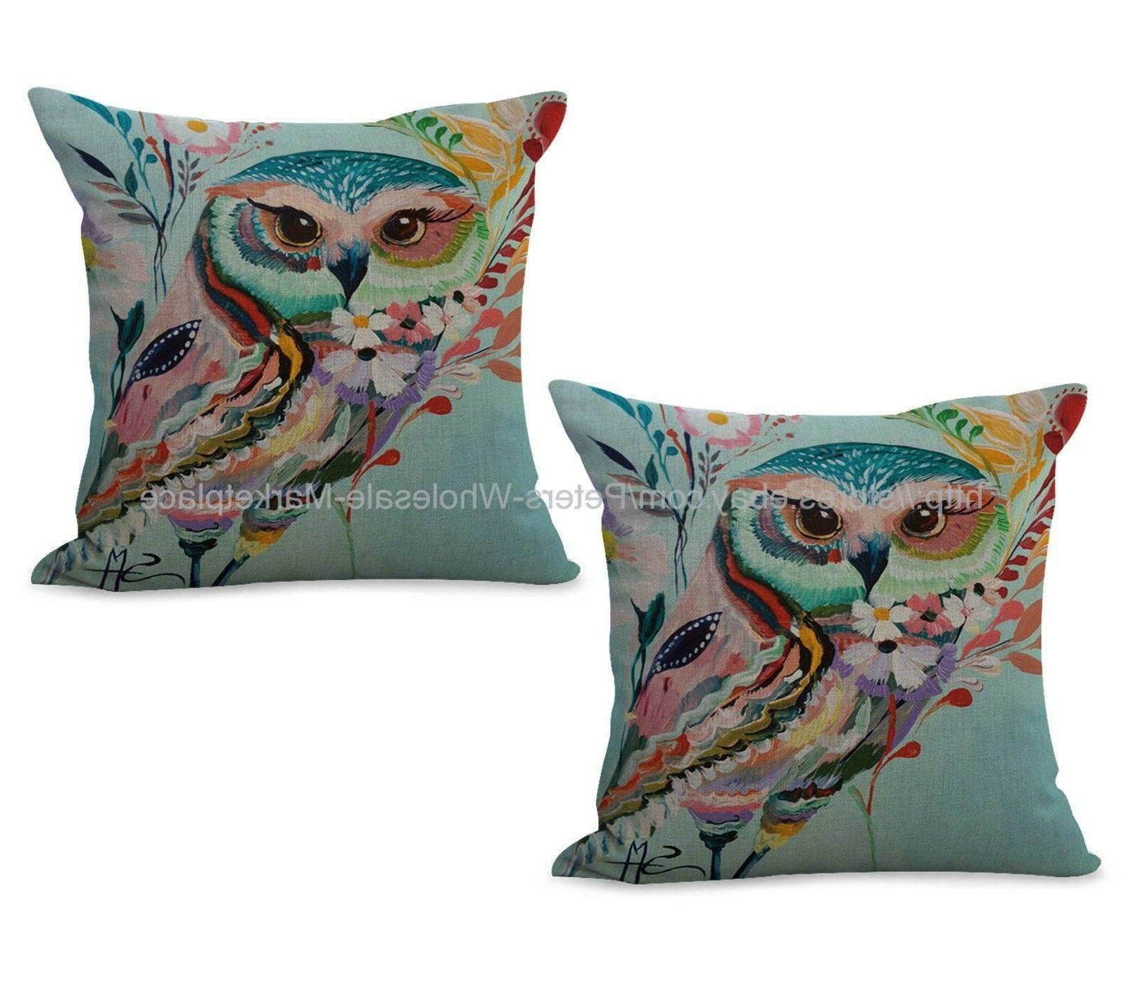 US SELLER- Set of 2 home goods throw pillows animal owl cush