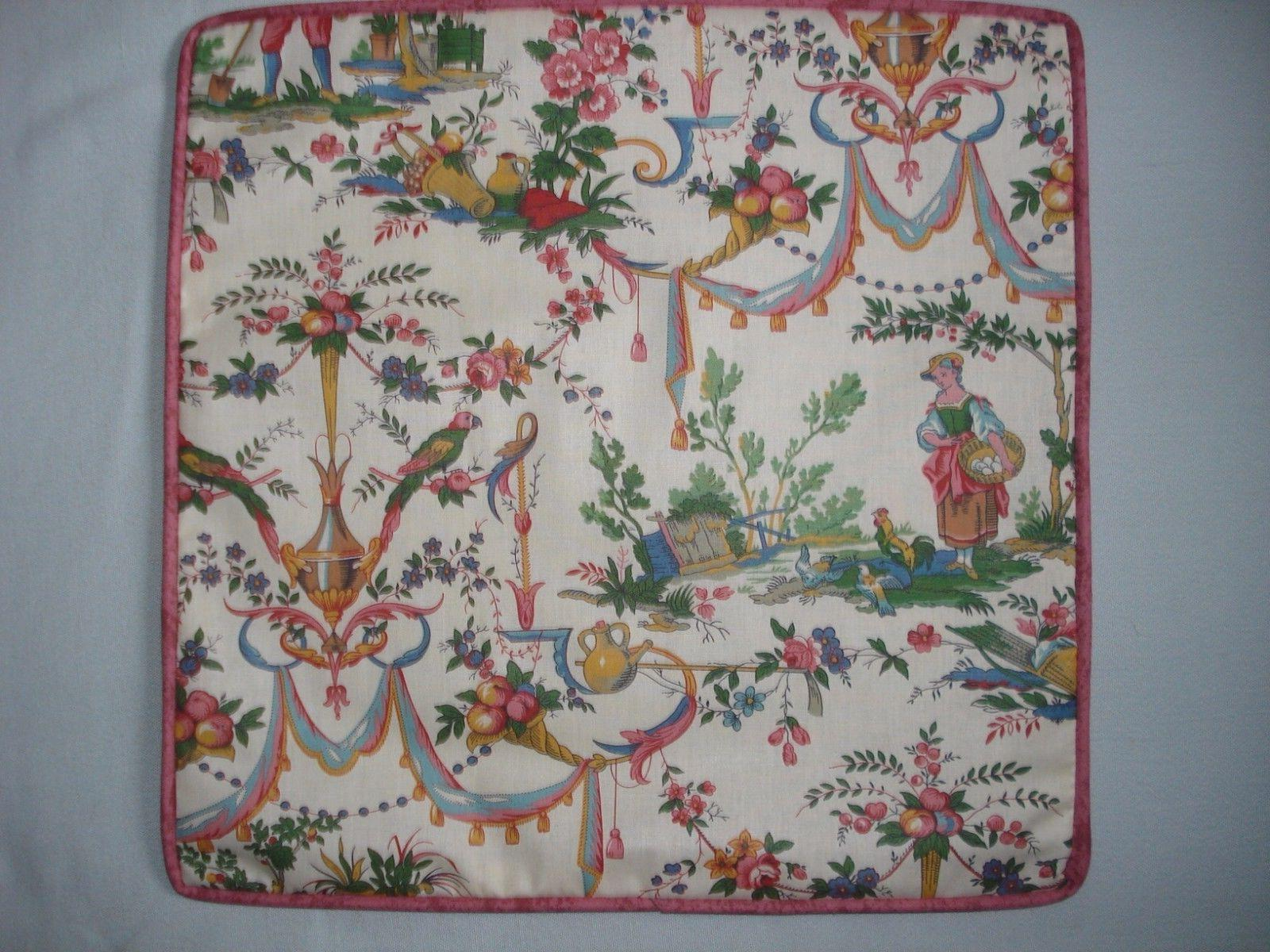 VINTAGE FRENCH TOILE ACCENT DECORATIVE TOSS THROW PILLOW COV