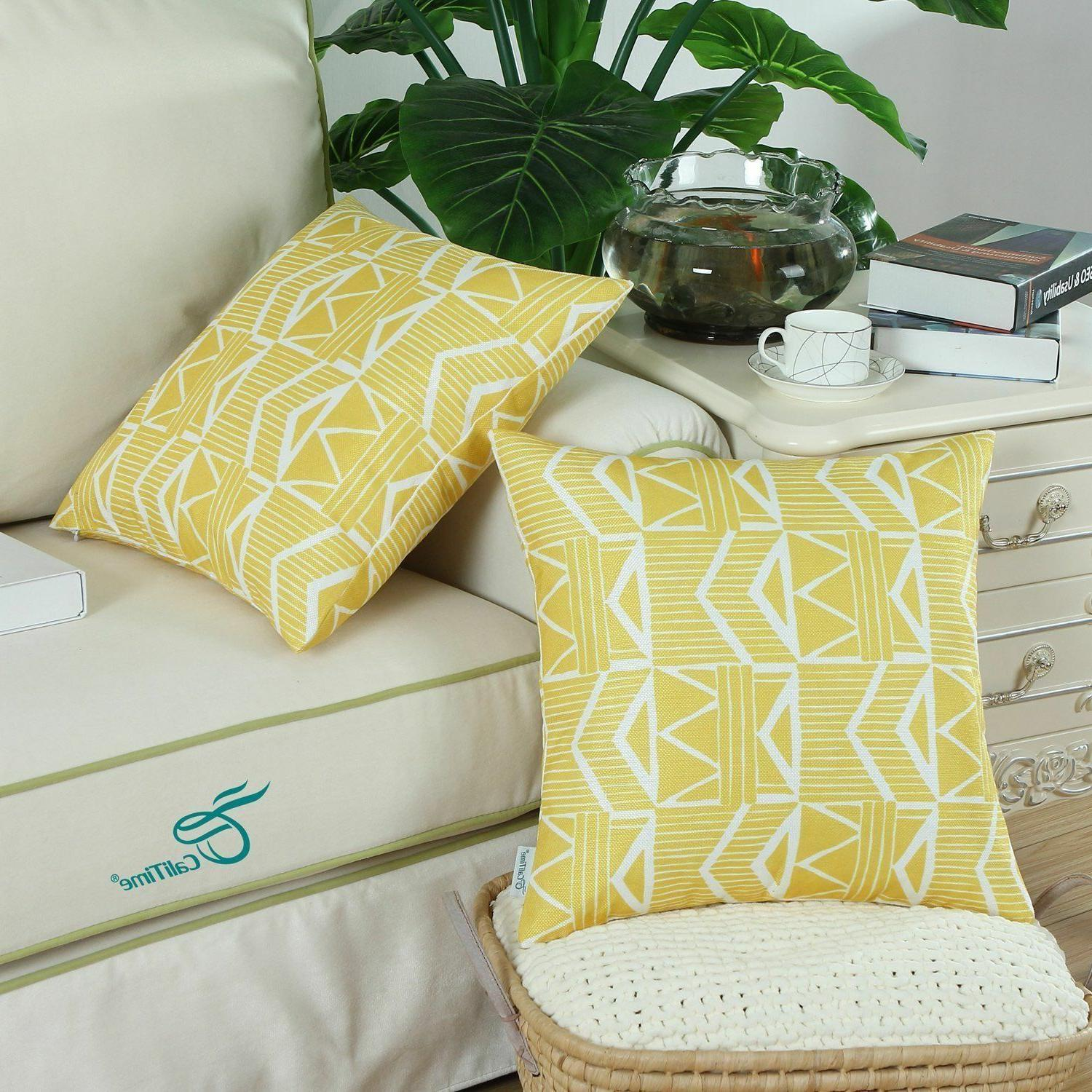Yellow Southwest Modern, CaliTime Throw Pillow Covers Pack of 2